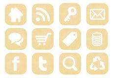 Coleção social retro dos ícones dos meios Imagens de Stock Royalty Free