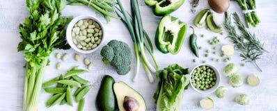 Coleção sortido de vegetais verdes Foto de Stock Royalty Free