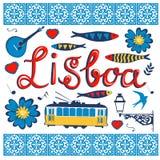 Coleção típica à moda dos ícones de Portugal Imagem de Stock Royalty Free