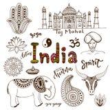 Coleção tirada mão da garatuja de ícones da Índia ilustração do vetor