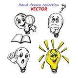 Coleção tirada mão de Emoyions das lâmpadas Foto de Stock