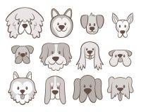 Coleção tirada mão do Avatar do cão ilustração do vetor
