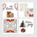 A coleção tirada mão do molde dos cartões do Feliz Natal do sumário do vetor ajustou-se com cervos, caixa de presente, bastões de Imagens de Stock