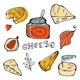 Coleção tirada mão do queijo Imagens de Stock Royalty Free