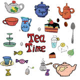 Coleção tirada mão do tempo do chá Imagens de Stock