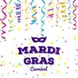 Coleção tradicional dos símbolos de Mardi Gras - máscaras do carnaval, decorações do partido Ilustração do vetor Imagem de Stock Royalty Free