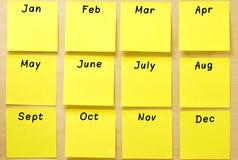 Coleção vazia do post-it do amarelo do calendário Fotos de Stock
