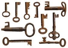Coleção velha das chaves Fotografia de Stock Royalty Free