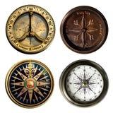 Coleção velha do compasso isolada no fundo branco Imagens de Stock Royalty Free