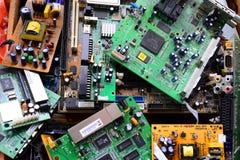 Coleção velha dos mainboards da eletrônica em privado foto de stock