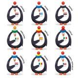 A coleção ventila patriotas dos fãs dos pinguins do país Fotos de Stock Royalty Free