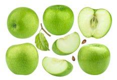 Coleção verde da maçã isolada no fundo branco Imagem de Stock Royalty Free