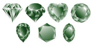 Coleção verde dos diamantes Imagens de Stock