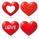 Coleção vermelha bonita do coração do vetor Fotos de Stock
