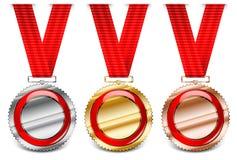 Coleção vermelha da medalha ilustração royalty free