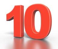 Coleção vermelha do número do dimentional três - dez Foto de Stock