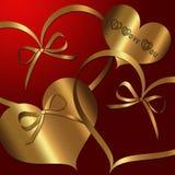 Coleção vermelha do ouro do coração ilustração do vetor