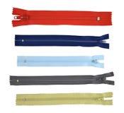 Coleção, zippers unzipped Fotografia de Stock Royalty Free