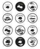 Coleções de elementos do projeto da padaria Grupo de logotipos da padaria, etiquetas, crachás E Foto de Stock Royalty Free