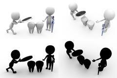 coleções dentais do conceito do homem 3d com Alpha And Shadow Channel Imagem de Stock