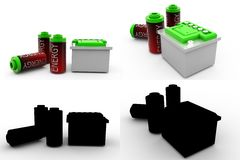 coleções do conceito da bateria 3d com Alpha And Shadow Channel Foto de Stock