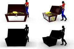 coleções do conceito da caixa do tesouro do woma 3d com Alpha And Shadow Channel Fotografia de Stock