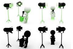coleções do conceito da entrevista do homem 3d com Alpha And Shadow Channel Imagens de Stock Royalty Free