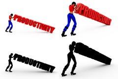 coleções do conceito da produtividade da mulher 3d com Alpha And Shadow Channel Fotos de Stock