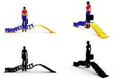 coleções do conceito da produtividade da mulher 3d com Alpha And Shadow Channel Imagens de Stock Royalty Free