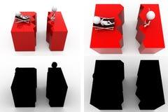 coleções do conceito da quebra da terra do homem 3d com Alpha And Shadow Channel Imagem de Stock