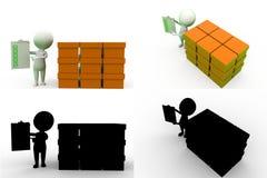 coleções do conceito do armazenamento do homem 3d com Alpha And Shadow Channel Fotografia de Stock