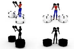 coleções do conceito do cilindro do jogo da mulher 3d com Alpha And Shadow Channel Imagem de Stock Royalty Free