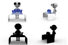 coleções do conceito do ebook do homem 3d com Alpha And Shadow Channel Fotos de Stock
