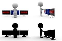 coleções do conceito do fechamento da tela do homem 3d com Alpha And Shadow Channel Imagens de Stock
