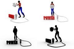 coleções do conceito do poder da mulher 3d com Alpha And Shadow Channel Imagem de Stock