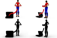 coleções do conceito dos segredos da mulher 3d com Alpha And Shadow Channel Imagem de Stock