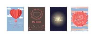 Coleções dos cartões para o dia de Valentim feliz, meu livro, você é meu universo Cartaz da tipografia, cartão, etiqueta, grupo d ilustração do vetor