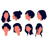 Cole??es bonitas do penteado das mulheres Vetor ilustração stock