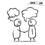 Cole a figura homem do aperto de mão 2 com falam e sonham a bolha ilustração stock