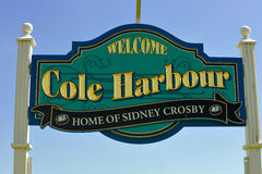 Cole Harbour sign proud of Crosby. The sign at the entrance of Cole Harbour on Portland Street proudly proclaims the town to be the home of NHL superstar Sidney Royalty Free Stock Images