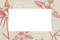 Cole??o de flores e de plantas tiradas m?o botany jogo Flores do vintage Ilustração preto e branco ao estilo de ilustração royalty free