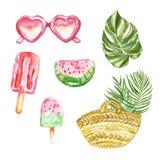 Cole??o dos elementos das f?rias de ver?o com melancia, ?culos de sol, folha tropical, picol?s Ilustra??o da aquarela no branco ilustração do vetor