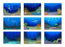 Cole??o dos Seascapes Oceano e mundo subaqu?tico Ilustra??o do vetor ilustração stock
