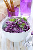 Cole Slaw salad of red cabbage with parsley. And mayonnaise Royalty Free Stock Photos