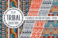 Colección étnica colorida de los modelos Sistema de 4 fondos inconsútiles abstractos modernos ilustración del vector