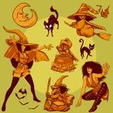 Colección 009 del diseño de carácter: Brujas de Víspera de Todos los Santos Fotografía de archivo libre de regalías