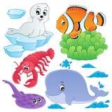 Colección 5 de los peces de mar y de los animales Foto de archivo libre de regalías
