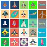 Colección abstracta de iconos de lanzamiento planos coloridos Imágenes de archivo libres de regalías