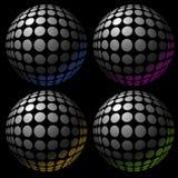 Colección acentuada del efecto de la esfera sombreada de cuatro colores stock de ilustración