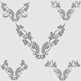 Colección adornada negra principal de la forma de la vaca y de Bull stock de ilustración